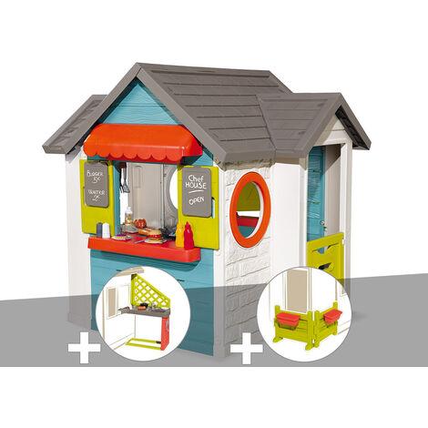 Cabane enfant Smoby Chef House + Cuisine d'été + Espace jardin