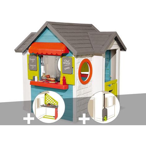 Cabane enfant Smoby Chef House + Cuisine d'été + Récupérateur d'eau