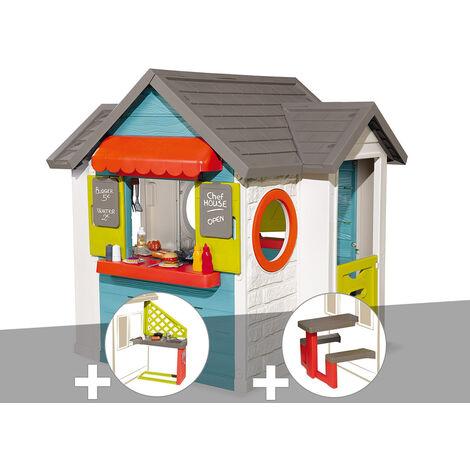 Cabane enfant Smoby Chef House + Cuisine d'été + Table pique nique