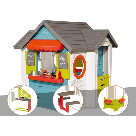 Cabane enfant Smoby Chef House + Cuisine d'été + Table pique nique + Espace jardin