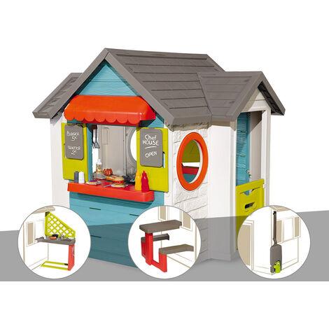 Cabane enfant Smoby Chef House + Cuisine d'été + Table pique nique + Récupérateur d'eau