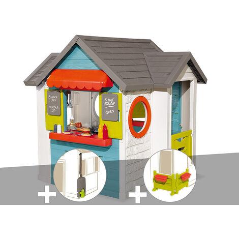 Cabane enfant Smoby Chef House + Récupérateur d'eau + Espace jardin