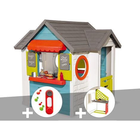 Cabane enfant Smoby Chef House + Sonnette + Cuisine d'été