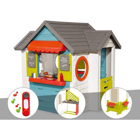 Cabane enfant Smoby Chef House + Sonnette + Cuisine d'été + Espace jardin
