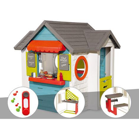 Cabane enfant Smoby Chef House + Sonnette + Cuisine d'été + Table pique nique