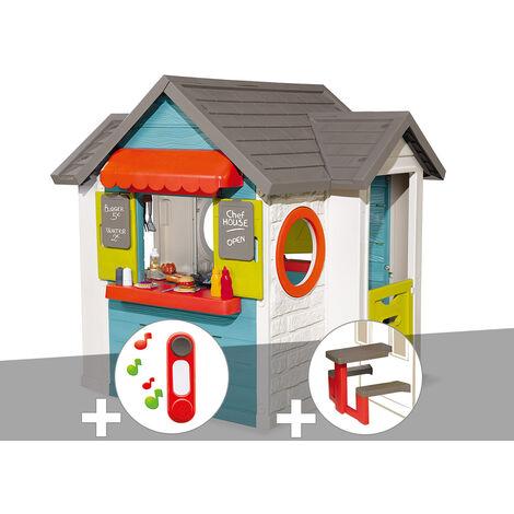 Cabane enfant Smoby Chef House + Sonnette + Table pique nique