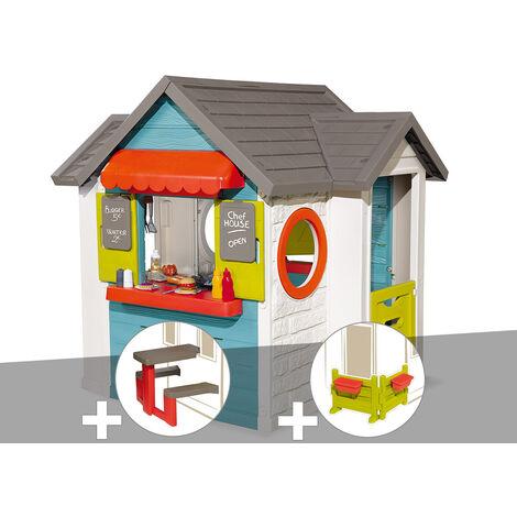 Cabane enfant Smoby Chef House + Table pique nique + Espace jardin