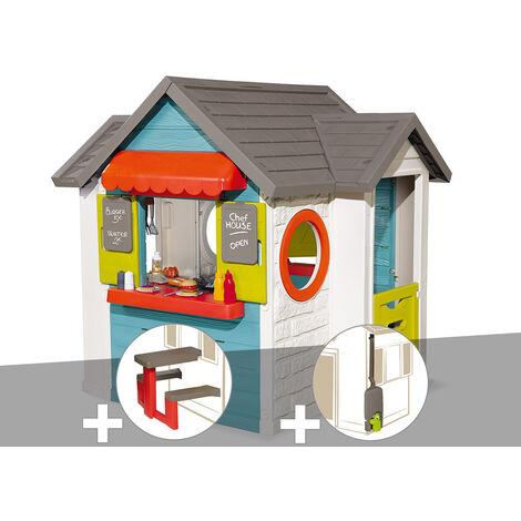 Cabane enfant Smoby Chef House + Table pique nique + Récupérateur d'eau