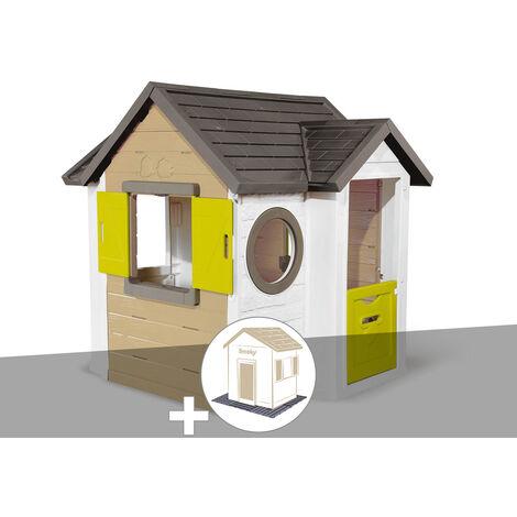Cabane enfant Smoby My New House + 2 Sets de 6 dalles