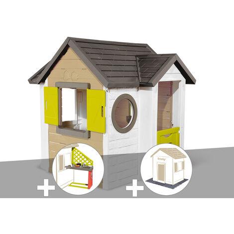 Cabane enfant Smoby My New House + Cuisine d'été + 2 Sets de 6 dalles