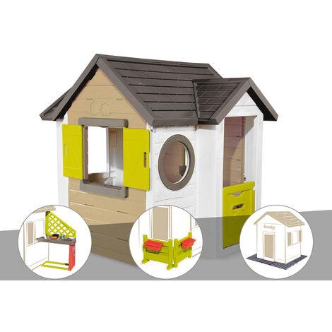 Cabane enfant Smoby My New House + Cuisine d'été + Espace jardin + 2 Sets de 6 dalles