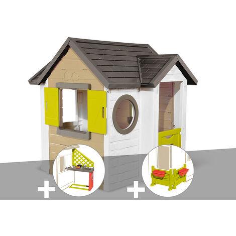 Cabane enfant Smoby My New House + Cuisine d'été + Espace jardin