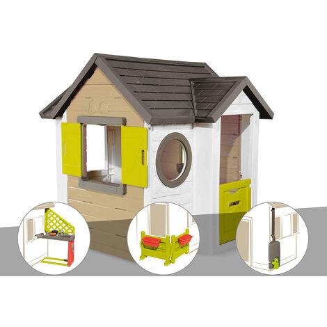 Cabane enfant Smoby My New House + Cuisine d'été + Espace jardin + Récupérateur d'eau