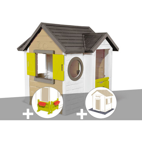 Cabane enfant Smoby My New House + Espace jardin + 2 Sets de 6 dalles