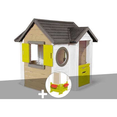 Cabane enfant Smoby My New House + Espace jardin