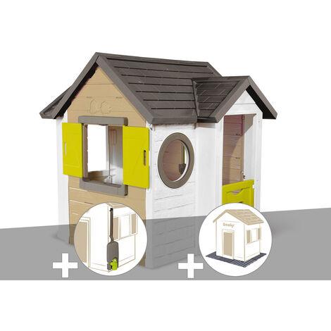 Cabane enfant Smoby My New House + Récupérateur d'eau + 2 Sets de 6 dalles
