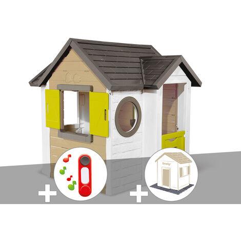 Cabane enfant Smoby My New House + Sonnette + 2 Sets de 6 dalles