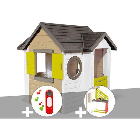 Cabane enfant Smoby My New House + Sonnette + Cuisine d'été