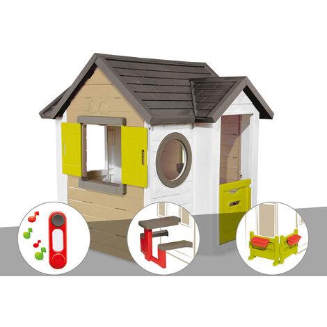 Cabane enfant Smoby My New House + Sonnette + Table pique nique + Espace jardin