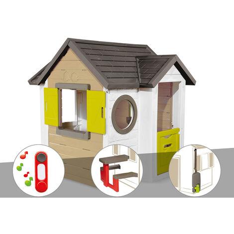 Cabane enfant Smoby My New House + Sonnette + Table pique nique + Récupérateur d'eau