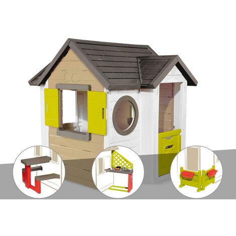 Cabane enfant Smoby My New House + Table pique nique + Cuisine d'été + Espace jardin