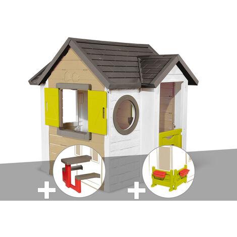 Cabane enfant Smoby My New House + Table pique nique + Espace jardin