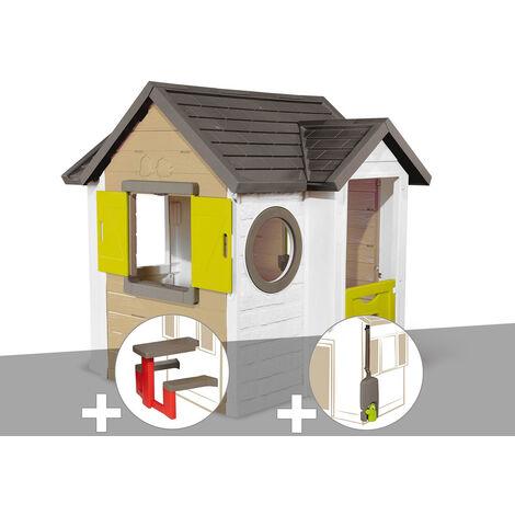 Cabane enfant Smoby My New House + Table pique nique + Récupérateur d'eau