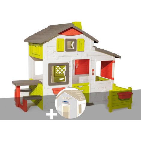 Cabane enfant Smoby Neo Friends House + Lampe solaire