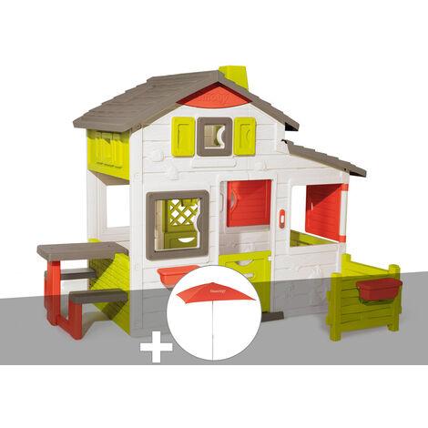 Cabane enfant Smoby Neo Friends House + Parasol