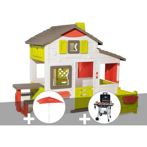 Cabane enfant Smoby Neo Friends House + Parasol + Barbecue / Plancha