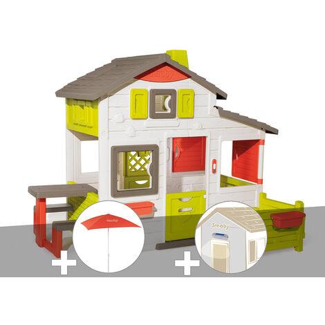 Cabane enfant Smoby Neo Friends House + Parasol + Lampe solaire