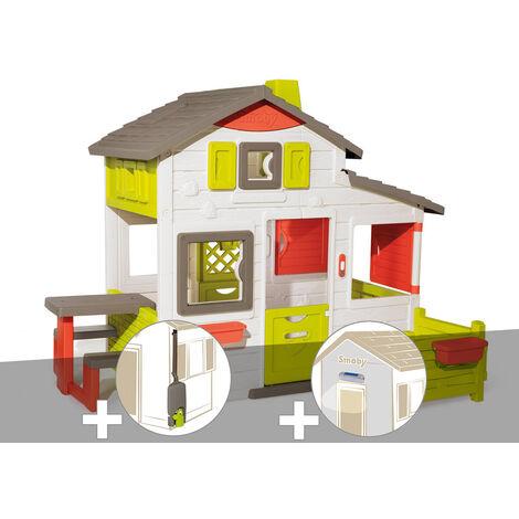 Cabane enfant Smoby Neo Friends House + Récupérateur d'eau + Lampe solaire