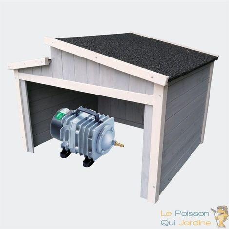 Cabane grise ou abri pour aérateur de bassin. 79 X 66 cm. Toit décalé - Gris