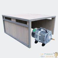 Cabane grise ou abri pour aérateur de bassin. 80 X 65 cm