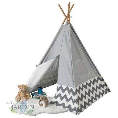 Cabane indienne moderne avec toile grise et poteaux en bambou