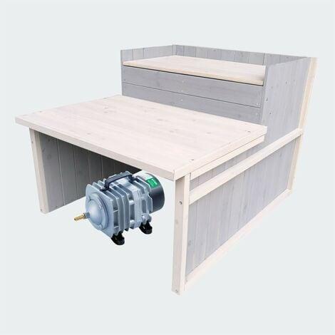 Cabane ou abri gris pour aérateur de bassin. 79 X 66 cm avec étage - Gris
