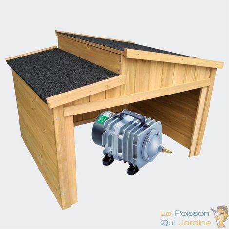 Cabane ou abri pour aérateur de bassin. 79 X 66 cm. Toit décalé - Brun