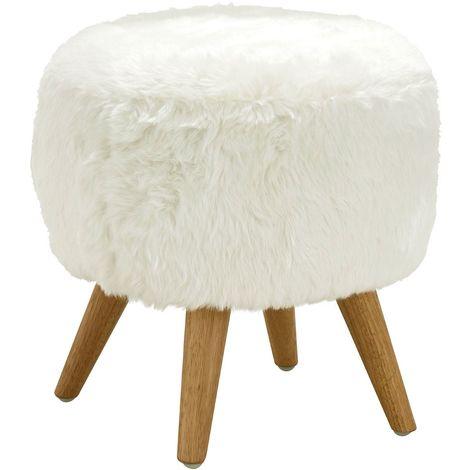 Cabaret Stool, White Fur Effect