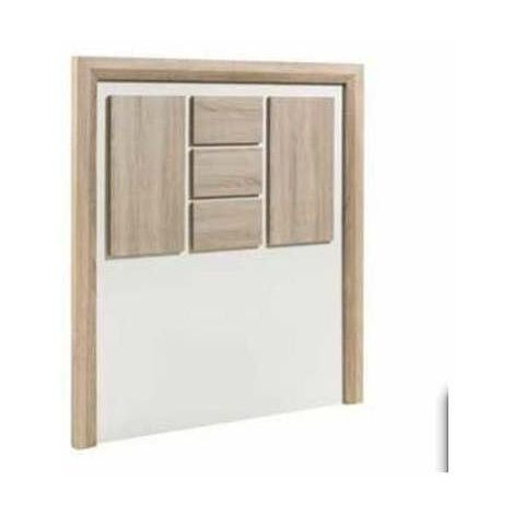 Cabecero Dado en acabado blanco combinado con roble aserrado 120 cm(alto)108 cm(ancho) Color Roble Aserrado/Blanco