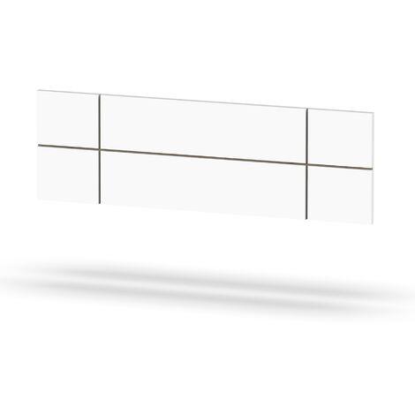 Cabecero de 160 cm moderno geométrico, para camas de matrimonio, 50x160x3,2 cm(alto x ancho x profundo), color blanco, colección Elsa