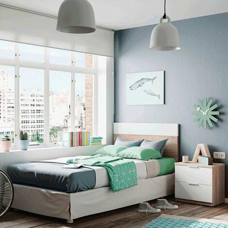 Cabecero + mesita roble/blanc dormitorio