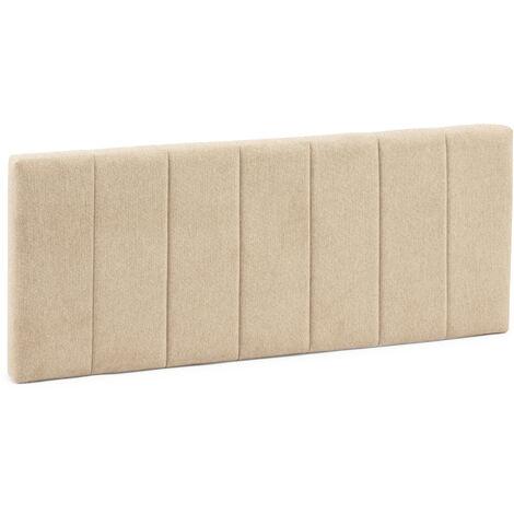 Cabecero tapizado Creta 150x60 cm Color Beige. Acolchado con Espuma. Bordado Vertical. 8 cm de Grosor. Incluye herrajes para Colgar