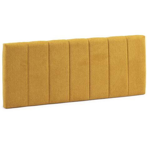 Cabecero tapizado Creta 150x60 cm Color Mostaza. Acolchado con Espuma. Bordado Vertical. 8 cm de Grosor. Incluye herrajes para Colgar