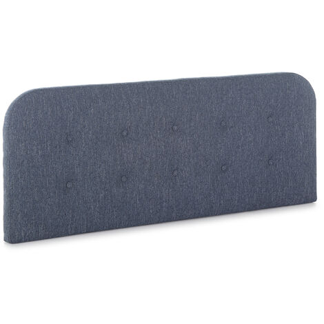 Cabecero tapizado Saona 150x60 cm Color Azul. Acolchado con Espuma. Botones en capitoné. 8 cm de Grosor. Incluye herrajes para Colgar
