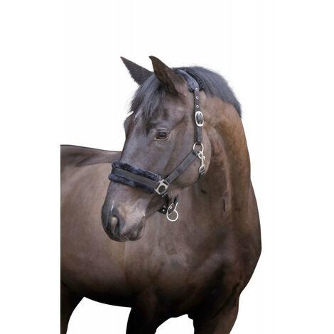 Cabestro con piel negra desmontable. para caballos. tamaño mazorca.