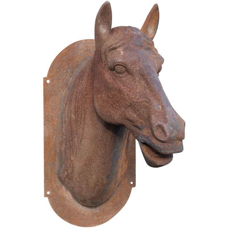 Cabeza de caballo de la pared en fundición de hierro acabado con efecto óxido natural L36xPR57xH82 cm