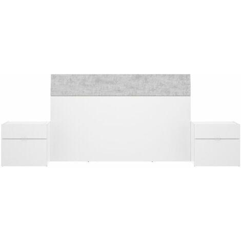 Cabezal + 2 Mesitas -Blanco Brillo / Cemento- 100 x 258 x 34 cm