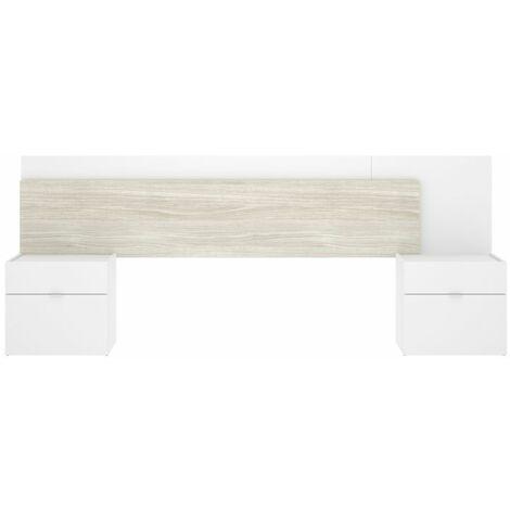 Cabezal + 2 Mesitas -Blanco Brillo / Gris- 95 x 236 x 34 cm