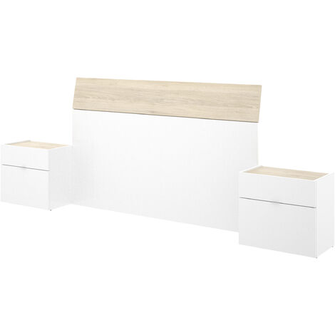Cabezal + 2 Mesitas -Blanco Brillo / Natural- 100 x 258 x 34 cm