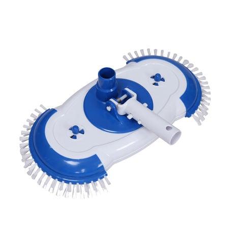 Cabezal cepillo limpiafondos de piscina con 9 cepillos, conexión a skimmer o filtro para succión
